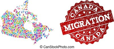 Migration Composition of Mosaic Map of Canada and Grunge Seal Stamp