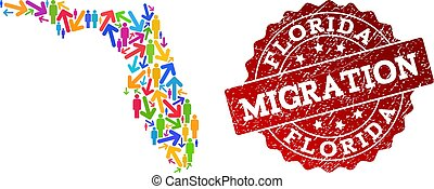 Migration Composition of Mosaic Map of Florida State and Scratched Stamp