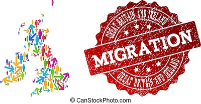 Migration Composition of Mosaic Map of Great Britain and Ireland and Textured Stamp