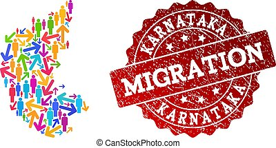 Migration Composition of Mosaic Map of Karnataka State and Grunge Seal