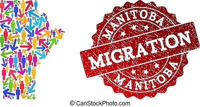 Migration Composition of Mosaic Map of Manitoba Province and Grunge Stamp