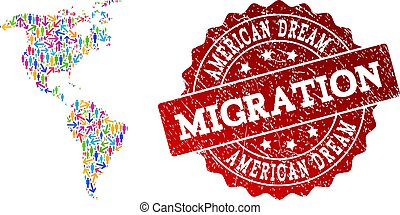 Migration Composition of Mosaic Map of South and North America and Distress Seal