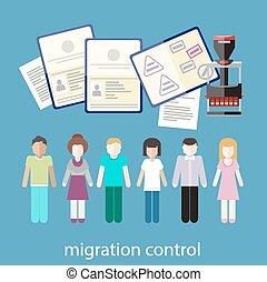 Migration control - Immigration concept in flat design....