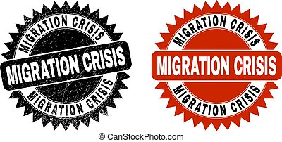 Black rosette MIGRATION CRISIS stamp. Flat vector distress stamp with MIGRATION CRISIS text inside sharp star shape, and original clean template. Watermark with distress style.