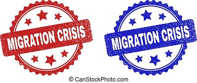 Rosette MIGRATION CRISIS seal stamps. Flat vector grunge seal stamps with MIGRATION CRISIS phrase inside rosette with stars, in blue and red color versions. Rubber imitations with scratched surface.