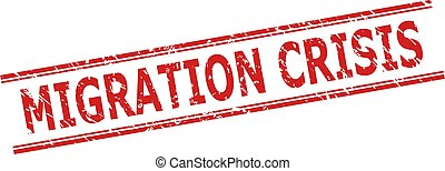 Red MIGRATION CRISIS stamp seal on a white background. Flat vector grunge seal stamp with MIGRATION CRISIS caption between double parallel lines. Watermark with corroded style.