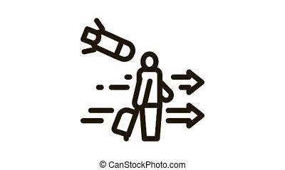 migratory man tourist Icon Animation. black migratory man tourist animated icon on white background