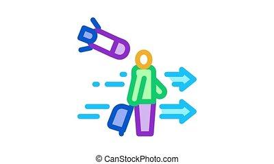 migratory man tourist Icon Animation. color migratory man tourist animated icon on white background