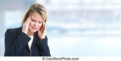 migrena, headache., kobieta, posiadanie