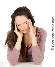 migrena, kobieta, pociągający, młody