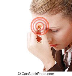 migrena, surowy, kobieta, ból głowy