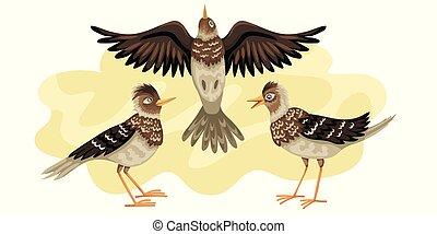 migrerend, bird., sky., achtergrond, tegen, vlieg, wild,...