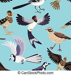 migrerend, seamless, birds., gevarieerd, model, animals.,...