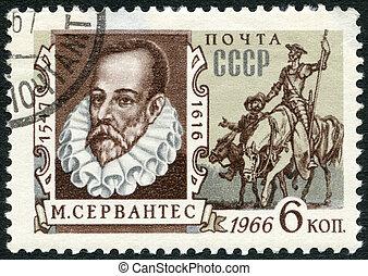 miguel, francobollo, stampato, cervantes, urss, 1966:, ...