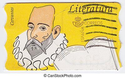 miguel, timbre, cervantes, imprimé, romancier, dramaturge, -, spectacles, espagne, sahara, espagnol, poète, environ, :, de, 1988