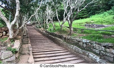 Mihintale, Sri Lanka, old staircase leading to the top