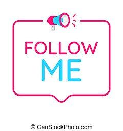 mij, badge, concept, media., sociaal, pictogram, volgen, logo.