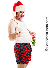 mij, daar, maretak, -, dons, kus, kerstmis