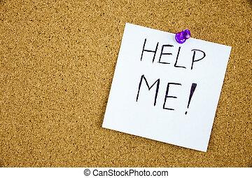 mij, gespeld, helpen, memo , geschreven, plank, kurk