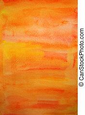 mij, kunst, gecreëerde, geverfde, hand, watercolor, achtergrond, sinaasappel, scrapbooking, ontwerp