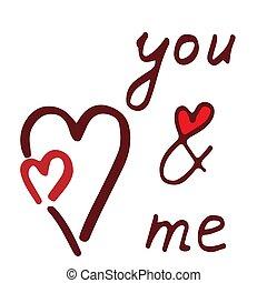 mij, lettering, u, rood hart