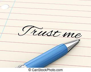 mij, -, pen, papier, vertrouwen, 3d