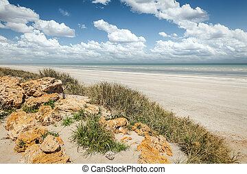 mijl, tachtig, australië, strand