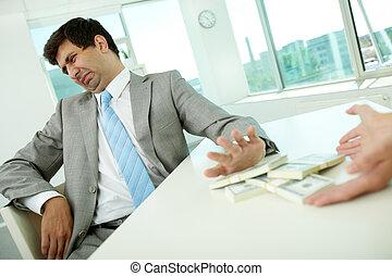 mijn, corruptie, kantoor, nee