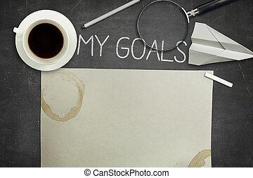 mijn, doelen, concept, op, black , bord, met, koffiekop