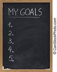 mijn, doelen, lijst, op, bord