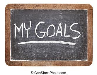 mijn, doelen, op, bord