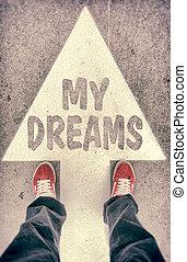 mijn, dromen, concept