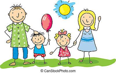 mijn, gezin, is, vrolijke