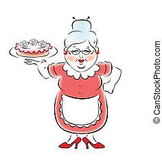 mijn, grootmoeder, bakt, een, heerlijk, ca