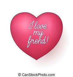 mijn, hart, liefde, rood, vriend