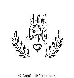 mijn, valentines, hand, ontwerp, liefde, lettering, -, inscriptie, of, gezin, huwelijk uitnodiging, dag