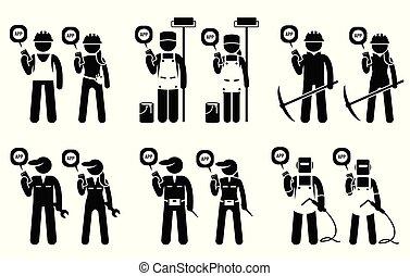 mijnbouw, beweeglijk, bouwsector, werkmannen , jobs., hun, aannemer, gebruik, industriebedrijven, app
