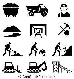 mijnbouw, en, mijnwerker, pictogram, set