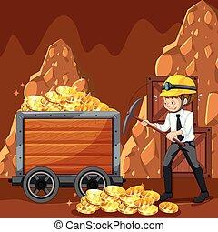 mijnbouw, munt, arbeider, cyber, kantoor