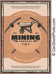 mijnbouw, poster, bedrijf, werken, mijnwerker, retro, werktuig