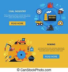 mijnbouw, set, banieren