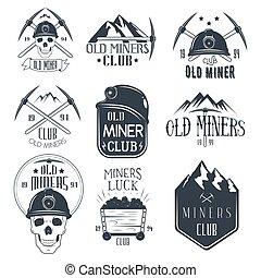 mijnbouw, set, goud, club, ouderwetse , etiketten, mijnwerkers, vector, style.