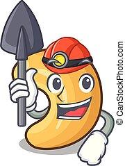 mijnwerker, cashew noten, warme, tafel, bakt, spotprent
