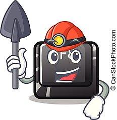mijnwerker, f8, knoop, installed, op, computer, mascotte