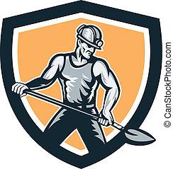 mijnwerker, hardhat, schop, schild, retro