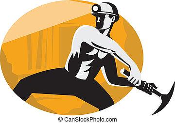mijnwerker, met, oogstbijl, frappant, retro