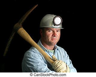 mijnwerker, met, pickax, -, in het donker