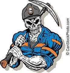 mijnwerker, met, schedel, gezicht