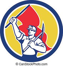 mijnwerker, steenkool, vlag, retro, vasthouden, bijl, hardhat