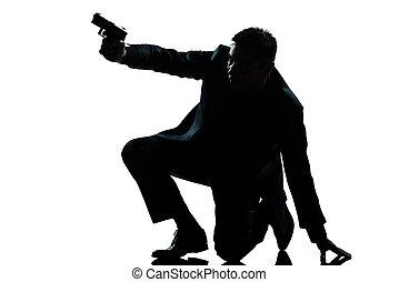 mikkend, silhouette, knieling, man, geweer